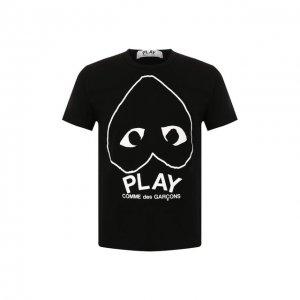 Хлопковая футболка Comme des Garcons Play. Цвет: чёрный