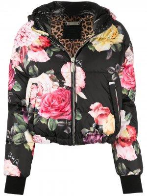 Куртка-бомбер с цветочным принтом Philipp Plein. Цвет: черный