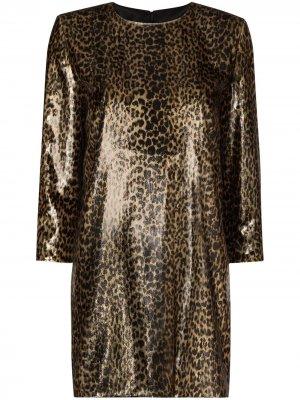 Платье мини с леопардовым принтом Saint Laurent. Цвет: черный