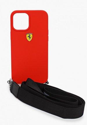Чехол для iPhone Ferrari 12 Pro Max (6.7), On-track Liquid silicone Strap & metal logo Red. Цвет: красный