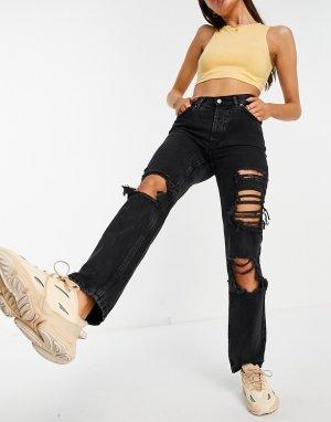 Выбеленные черные джинсы из органического хлопка прямого кроя со стандартной талией с большими рваными разрезами в стиле 90-х -Черный цвет ASOS DESIGN