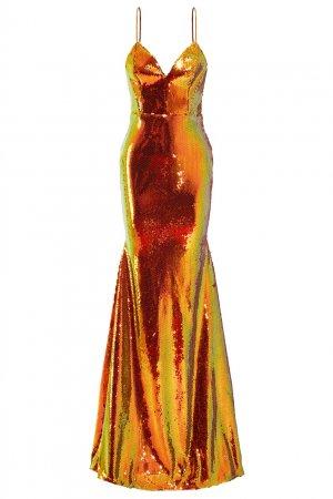 Вечернее платье с пайетками Alex Perry. Цвет: оранжевый