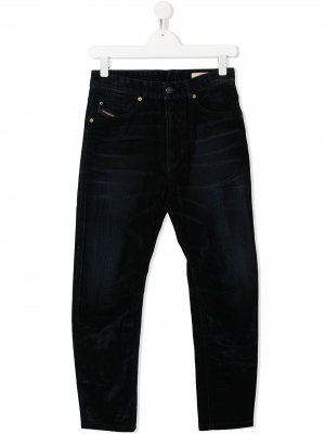 Зауженные джинсы с эффектом потертости Diesel Kids. Цвет: синий