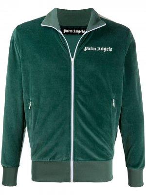 Спортивная куртка из шенилла Palm Angels. Цвет: зеленый