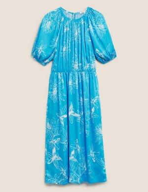 Атласное платье миди в цветочек с присборенной талией Autograph. Цвет: яркий голубой микс