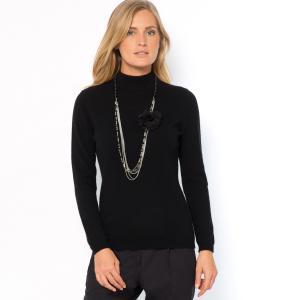 Пуловер из кашемира с воротником отворотом тонкого трикотажа ANNE WEYBURN. Цвет: светло-серый меланж,черный