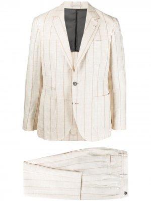 Полосатый костюм с однобортным пиджаком Brunello Cucinelli. Цвет: нейтральные цвета
