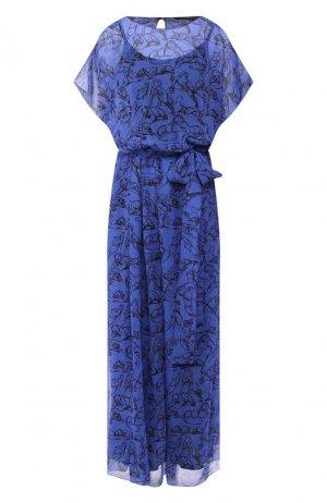 Шелковое платье Chapurin. Цвет: синий