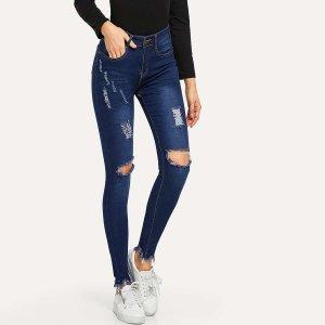 Рваные джинсы с бахромой SHEIN. Цвет: тёмно-синие