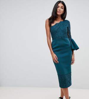 Платье на одно плечо с кружевом ASOS DESIGN Tall. Цвет: зеленый