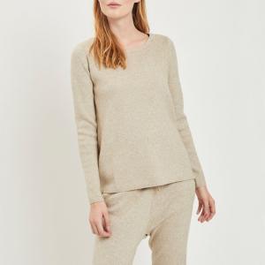 Пуловер с круглым вырезом и застежкой на молнию по бокам VILA. Цвет: серо-бежевый,темно-серый меланж