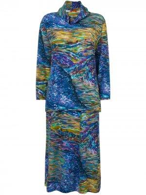 Комплект из топа и юбки 1980-х годов Kenzo Pre-Owned. Цвет: синий