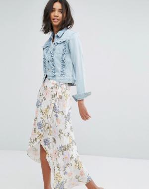 Джинсовая куртка с отделкой рюшами Miss Selfridge. Цвет: серый
