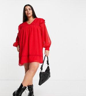 Красное свободное платье мини со сборками и кружевными вставками ASOS DESIGN Curve-Красный Curve