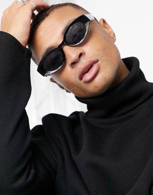 Овальные солнцезащитные очки среднего размера в черной оправе из переработанных материалов с дымчатыми линзами -Синий ASOS DESIGN