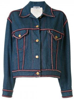 Джинсовая куртка с плетеной окантовкой Chanel Pre-Owned. Цвет: синий