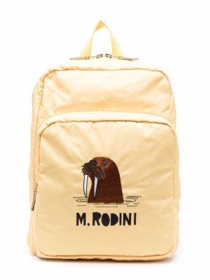 Logo-print zip-up backpack Mini Rodini. Цвет: желтый