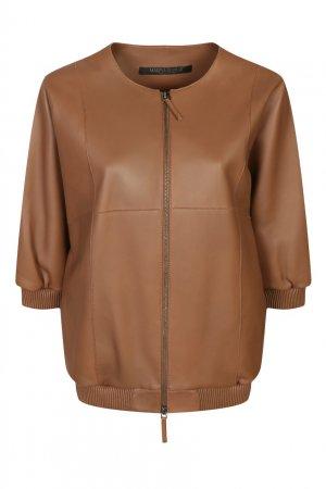 Кожаная куртка с укороченными рукавами Marina Rinaldi. Цвет: оранжевый