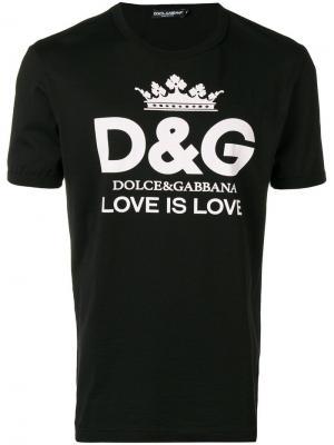 Футболка с принтом логотипа Dolce & Gabbana. Цвет: черный