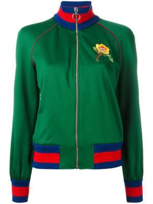 Куртка бомбер с цветочной вышивкой Gucci. Цвет: зелёный