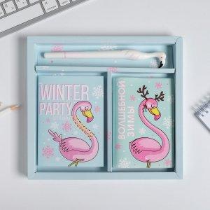 Набор обложка для паспорта полноцвет, блокнот прикол и ручка winter party ArtFox