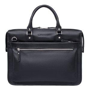 Кожаная деловая сумка для ноутбука Halston Black
