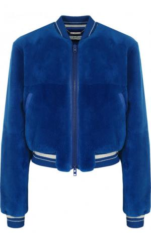 Бомбер из меха бобра с логотипом бренда на спинке Givenchy. Цвет: синий