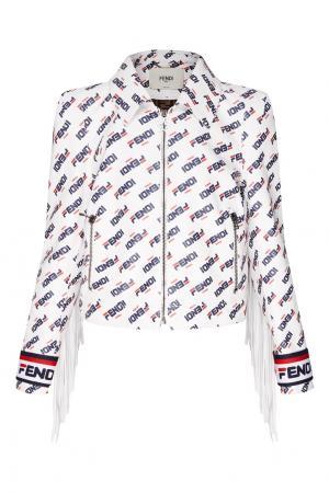 Белая кожаная куртка с принтом Fendi. Цвет: белый