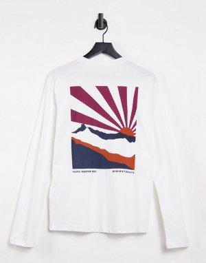 Белая футболка из органического хлопка с длинными рукавами и принтом на спинке -Белый Knowledge Cotton Apparel