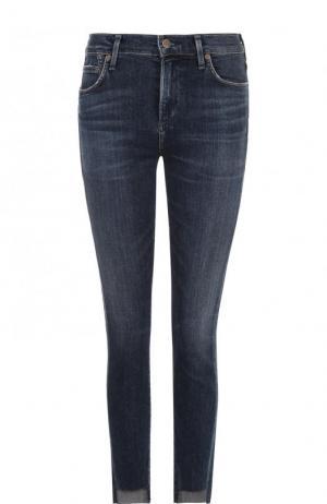 Укороченные джинсы-скинни с потертостями Citizens Of Humanity. Цвет: синий
