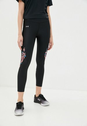 Тайтсы Under Armour UA HG Printed Panel Ankle Crop. Цвет: черный