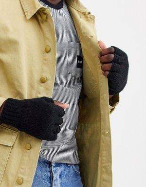 Черные перчатки Wood-Черный Weekday
