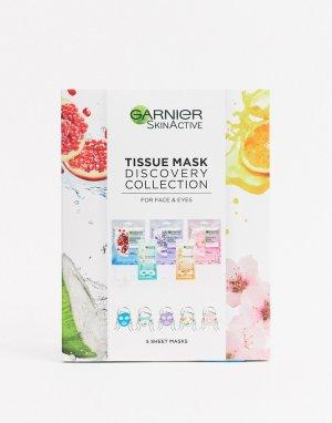 Подарочный набор тканевых масок для лица и кожи вокруг глаз Discovery Collection-Бесцветный Garnier