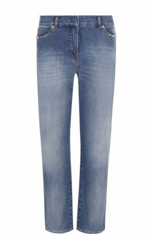 Укороченные джинсы прямого кроя с потертостями Valentino. Цвет: голубой
