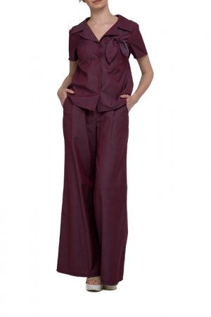 Костюм: блуза, брюки Adzhedo. Цвет: бордовый