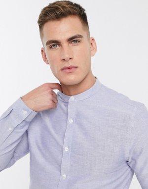 Голубая оксфордская рубашка с длинными рукавами и воротником на пуговице -Синий New Look