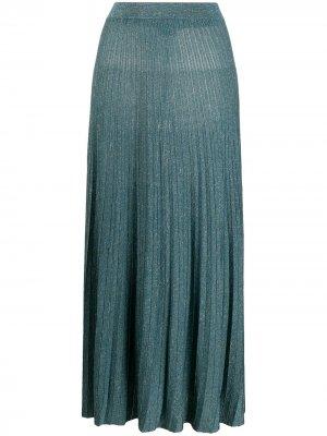 Плиссированная юбка миди Roberto Collina. Цвет: синий