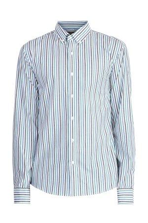 Хлопковая рубашка в полоску с воротником button-down MICHAEL KORS. Цвет: мульти