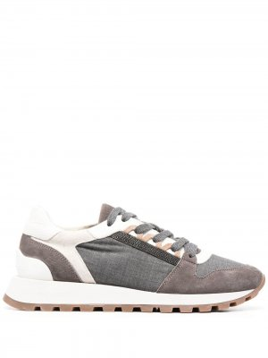 Кроссовки со вставками Brunello Cucinelli. Цвет: серый