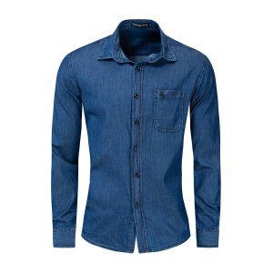 Мужская джинсовая рубашка с карманом SHEIN. Цвет: темный синий умывания