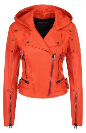 Кожаная куртка с капюшоном Tom Ford. Цвет: красный