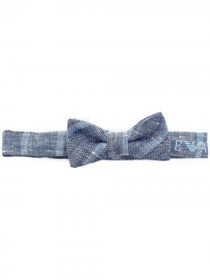 Клетчатый галстук-бабочка с логотипом Emporio Armani Kids. Цвет: синий