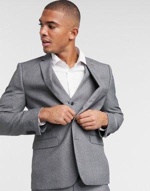 Серый пиджак узкого кроя Farah