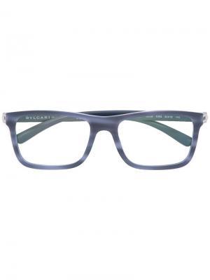 Очки с квадратной оправой Bulgari. Цвет: синий
