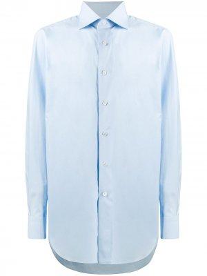 Рубашка со срезанным воротником Brioni. Цвет: синий