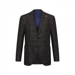 Пиджак из шерсти и кашемира L.B.M. 1911. Цвет: коричневый
