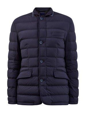 Утепленная куртка из стеганого влагозащитного нейлона CUDGI. Цвет: синий