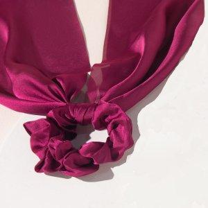 Однотонная резинка для волос с шарфом девочек SHEIN. Цвет: бургундия