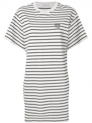 Striped T-shirt dress T By Alexander Wang. Цвет: белый