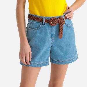 Шорты из джинсовой ткани LA REDOUTE COLLECTIONS. Цвет: синий выбеленный,синий потертый